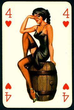 Pin Up Playing Card - Four of Hearts by cigcardpix, via Flickr