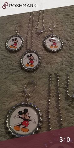 """Mickey Mouse Bottlecap Necklace & Earrings Set 1"""" flattened silver Bottlecap necklace and earrings set with Mickey Mouse....comes on 18"""" ball chain....Both Bottlecap and chain made of aluminum so they are lightweight. Jewelry Necklaces"""