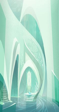 "Disney ""Frozen"" 2013 concept art by Brittney Lee of Elsa's ice castle Deco Disney, Art Disney, Disney Concept Art, Disney Love, Disney Frozen, Frozen Art, Frozen 2013, Frozen Movie, Olaf Frozen"