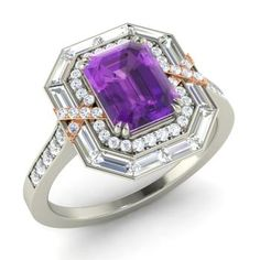 Emerald-Cut Amethyst Halo Ring in 14k White Gold with SI Diamond ,VS Diamond