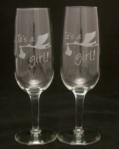 2 Newborn Its a Girl Etched Champagne Glasses by Etchddreams