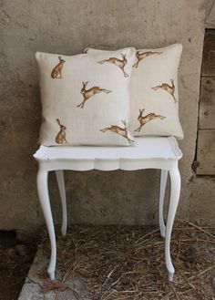 Hare Cushions in Switzerland by Peony & Sage