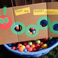 The Very Hungry Caterpillar Activities for Toddlers and Preschoolers - Feed the hungry caterpillar ball game – A fun party game for kids - Nursery Activities, Toddler Learning Activities, Toddler Preschool, Fun Learning, Educational Activities, The Very Hungry Caterpillar Activities, Hungry Caterpillar Party, Caterpillar Preschool, Toddler Party Games