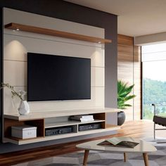 Painel para TV 60 Polegadas Axel Branco Gloss e Natural 181 cm Tv Unit Decor, Tv Wall Decor, Wall Tv, Tv Cabinet Design, Tv Wall Design, Tv Wanddekor, Backdrop Tv, Tv Unit Furniture, Modern Tv Wall Units