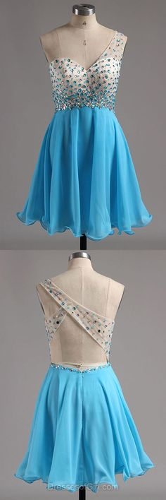 One Shoulder Prom Dresses, Aline Formal Dresses, Chiffon Evening Dresses, Blue Homecoming Dresses, Open Back Party Dresses