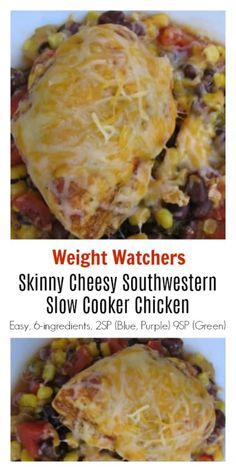 WW Recipes: Skinny Cheesy Southwestern Slow Cooker Chicken - easy healthy family friendly dump & go dinner with just 370 calories Weight Watchers SmartPoints: 2 (Blue Purple) 9 (Green) Poulet Weight Watchers, Plats Weight Watchers, Weight Watchers Chicken, Weight Watchers Meals, Weight Watchers Crockpot Chicken Recipe, Weight Watchers Recipes With Smartpoints, Weight Watchers Meatloaf, Weightwatchers Recipes, Yummy Chicken Recipes
