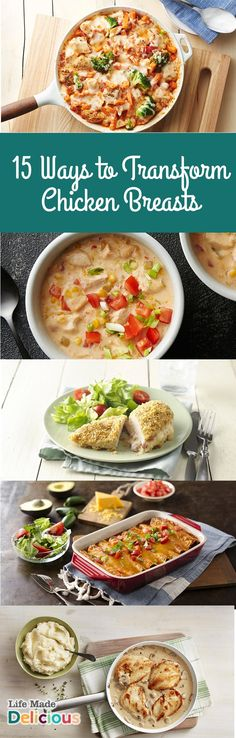 15 Ways to Transform Chicken Breasts- Spice up boring chicken breasts with this collection of chicken recipes for lots of great new ideas. Try one of these new twists on chicken for recipes that are full of flavour and lean protein.