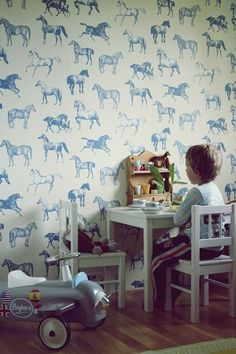 blue equestrian toile wallpaper