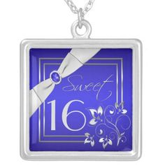 Blue and Silver Floral Sweet Sixteen Necklace