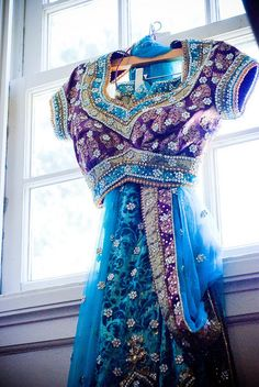 blue n purple.    So beautiful. I would feel like an Indian princess in this!
