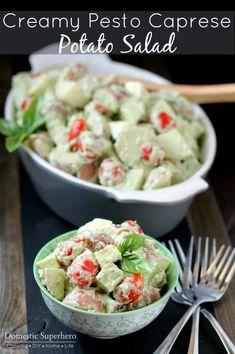 Creamy Pesto Caprese Potato Salad with Greek Yogurt Smashed Red Potatoes, Creamy Pesto, Cooking Recipes, Healthy Recipes, Delicious Recipes, Healthy Snacks, Vegetarian Recipes, Side Dish Recipes, Side Dishes