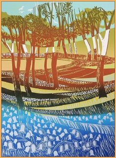 """Bluebells"" Linocut by Rob Barnes. http://www.robbarnesart.co.uk/ Tags: Linocut, Cut, Print, Linoleum, Lino, Carving, Block, Woodcut, Helen Elstone, Landscape, Trees"