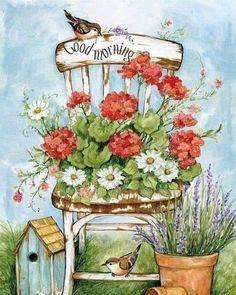 Rhinestone Art, Country Paintings, Spring Art, Country Art, Amazon Art, Whimsical Art, Geraniums, Garden Art, Cute Art