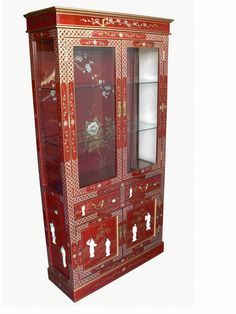 Chinese Red Lacquer Mother of Pearl Glazed Display Cabinet Furniture Direct, Oriental Furniture, Cabinet, Furniture, Display Cabinet, Chinoiserie, Furniture Cleaner, Chinese Furniture, Traditional Design