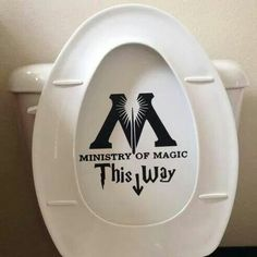 Ministry of Magic Toilet Decal Sticker and more Harry Potter products. Hp Products, Ministry Of Magic, Harry Potter Merchandise, Hogwarts, Decorative Plates, Decals, Geek Stuff, Tumblr, Stickers