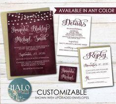 Wedding Invitations  Invitation Kit red wine by HALOdesignsSHOP