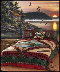 Celebrate the solitude of lake living with the refreshing red and green of the Lake Cabin Tapestry Bedding. Lake Cabin Bedding-Twilight wall mural-fishing theme-camping theme bedrooms-northwoods theme