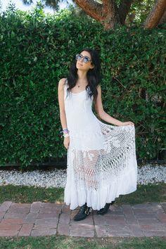 Crocheted dress with fabric trim (Coachella 2015)