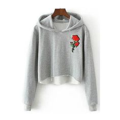 Hooded Rose Embroidered Cropped Hoodie ($18) ❤ liked on Polyvore featuring tops, hoodies, hooded sweatshirt, white top, hooded crop top, cropped hoodies and crop top