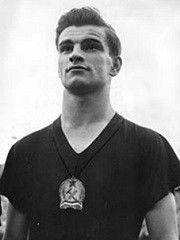 Sándor Péter Kocsis (Hungarian 21 September 1929 – 22 July 1979) was a Hungarian footballer who played for Ferencváros TC, Budapest Honvéd, Young Fellows Zürich, FC Barcelona and Hungary as a striker. During the 1950s, along with Ferenc Puskás, Zoltán Czibor, József Bozsik and Nándor Hidegkuti, he was a member of the Mighty Magyars. After the 1956 Hungarian Revolution he moved to Spain where he became a member of the FC Barcelona team of the late 1950s. Barcelona Team, Soccer Games, Budapest Hungary, Soccer Players, Vintage Men, Liverpool, Sports Teams, Spain, World