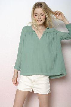 blouse Lemon cactus 100% crêpon de coton - chemise Femme - Des