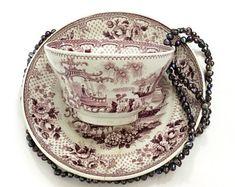 Staffordshire Mulberry Transferware, Tea Cup & Saucer, John Ridgway Japonica Pattern, 1830s Antique Georgian English Pearlware Tea Bowl