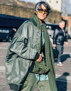 coat proportions x plaid scarf x olive lenses