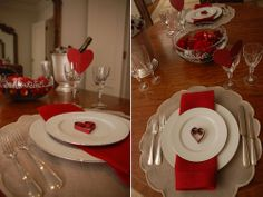 Romantic table set up. Perfect for Valentine Day.