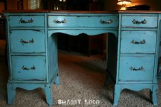 chippy turquoise desk