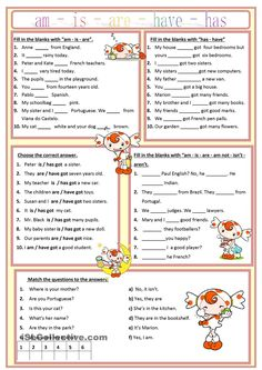 Am, is, are, has, have worksheet - Free ESL printable worksheets made by teachers good for quick daily grammar checks English Grammar Worksheets, English Verbs, English Fun, English Vocabulary, Learn English, Phonetics English, English Beginner, English Grammar Exercises, Grammar Activities
