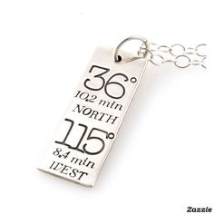 Typography Custom Coordinates Necklace - Silver.  Made by Spiffing Jewelry