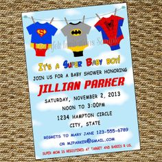 marvel baby shower invitations Super Hero Custom Baby Shower