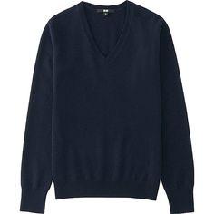 Women's Cashmere V-Neck Sweater, NAVY, large