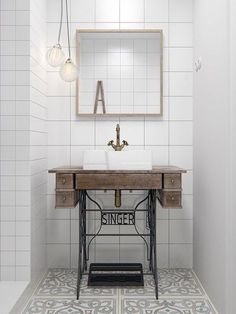 Small Space Solutions: Super Cute Sewing Table Hack to Upgrade Your Compact Bathroom Vanity Diy Bathroom, Interior, Industrial Bathroom Vanity, Vintage Bathroom, Compact Bathroom, Bathroom Vanity, Industrial Bathroom Decor, Vintage Bathroom Sinks, Bathroom Inspiration