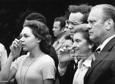 Julie Nixon Eisenhower, husband David Eisenhower, Betty Ford and Vice President Gerald R. Ford watch President Nixon's helicopter take off from the White House lawn moments after Nixon's resignation, August 9, 1974 in Washington, D.C. Ford stepped into the office as President that day.