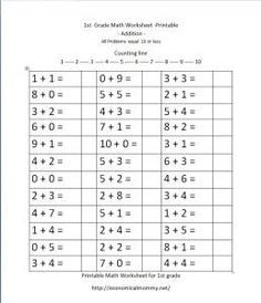 Math drill sheets - addition facts, etc | Preschool Math & Numbers ...