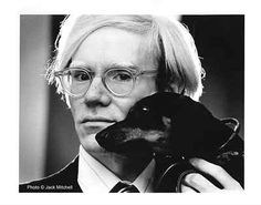 andy warhol with his dog archie '73 by jack mitchell