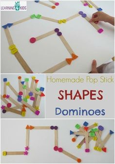 ACTIVITIES at Learning 4 Kids Homemade Pop Stick Shapes Dominoes - simple hands-on game for learning and playing with shapes. Toddler Learning, Learning Games, Math Games, Teaching Kids, Classroom Games, Maths, Games For Kids, Diy For Kids, Crafts For Kids