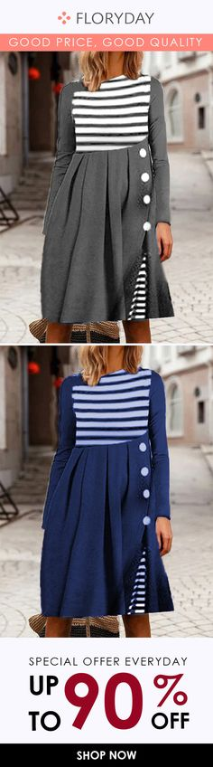 Stripe round neckline knee-length dress, daily, style, special offer. Floryday Dresses, Dresses For Work, Women's Fashion Dresses, Dresses For Sale, Party Dress, Affordable Dresses, Buy Dress, Dress Collection, Casual