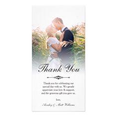 Elegant Script Overlay Wedding Photo Thank You Card