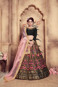 Silk party wear lehenga choli in black color latest collection available at best prices. Black wedding lehenga choli is silk fabricated lehenga and choli with light pink color net fabric dupatta. Black designer lehenga choli is fancy design beautiful cutd Designer Bridal Lehenga, Bridal Lehenga Choli, Silk Lehenga, Wedding Lehnga, Ghagra Choli, Silk Dupatta, Saree, Wedding Dresses, Black Lehenga