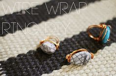 Turn pretty stone beads into bold statement rings with this wire wrapped ring tutorial from Kinsey at Sincerely, Kinsey! More:How-To: Nail Polish Ring Refa