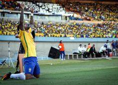 Gabriel of Brazil reacts after scoring a goal against Japan on July 30. (Fernando Bizerra Jr. / European Pressphoto Agency)