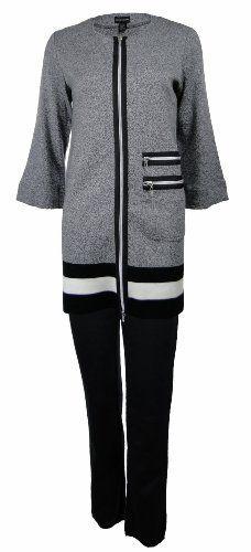 Sutton Studio Womens Black White Zipper Front Tunic & Pant Set (Small) [Apparel] Sutton Studio. $99.99