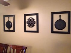 Looking for a way to display your cast iron? This idea comes from Angela Steelman. Use inexpensive thrift store frames to turn them into beautiful pieces of artwork when you are not using them to cook. We love it!