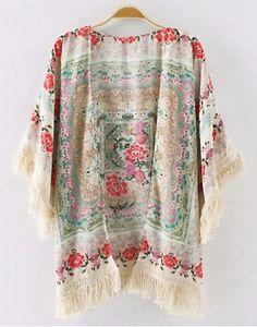 Fashionable Collarless 3/4 Sleeve Floral Print Tassel Women's Kimono