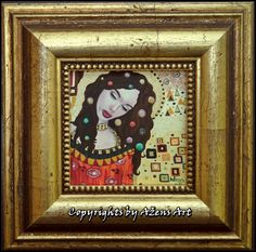 MINIATURE MEDEA Mixed media on canvas: 10 x 10cm Frame: 20 x 20 x 2,5 cm
