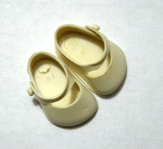 Vintage Ginny White Doll Shoes 1.25 Inches by VictorianWardrobe, $5.99