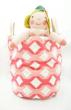 pink storage bin // reversible + machine washable // Etsy