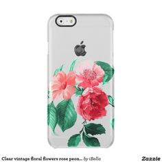 Clear vintage pressed wildflower cabbage roses peonies design girly, chic, elegant floral iPhone 6 case cover.